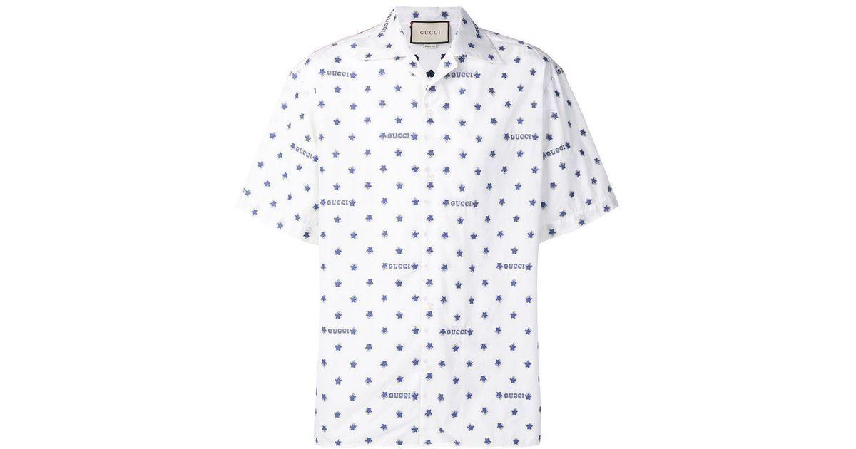 3e87242022d3 Men's White Star And Logo Print Cotton Shirt | Wishlist | Cotton ...