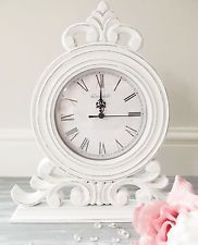 Clock In Desk And Mantel Clocks Vintage Clock White Shabby Chic Mantle Clock