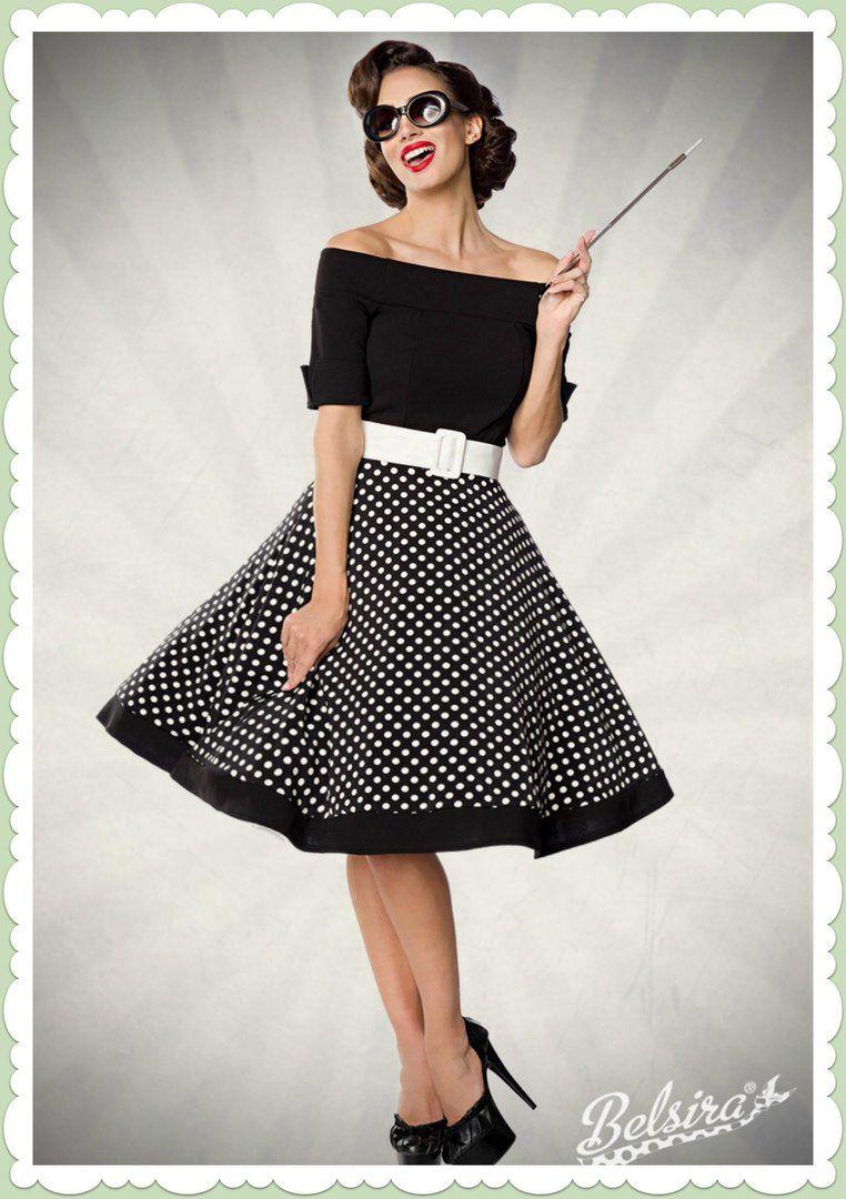 80bb562a378b Belsira 50er Jahre Rockabilly Petticoat Kleid - Polka Dots - Schwarz ...