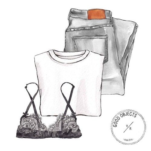 Good objects - Another one of basics… #jeans #whitetee #blackbra #goodobjects