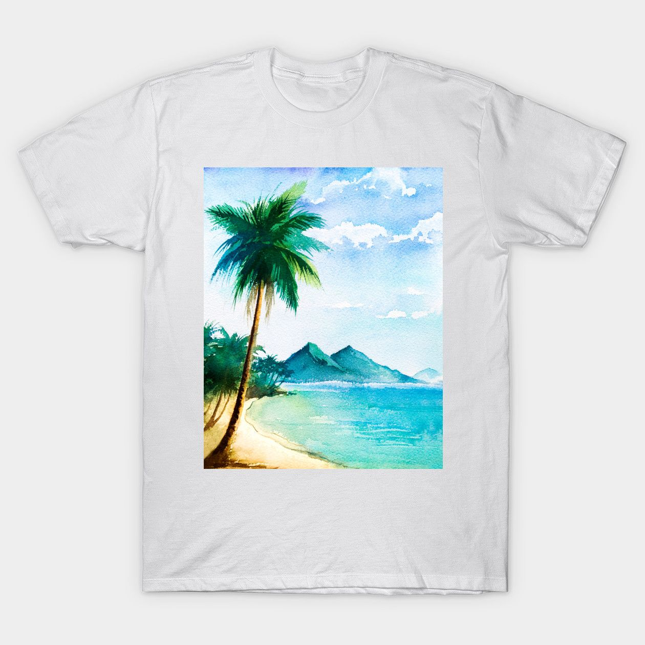 Watercolor Tropical Beach Scene With Palm Trees Beach Classic T