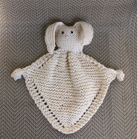 Bunny Blanket Buddy Knit 50722 Pattern By Lion Brand Yarn