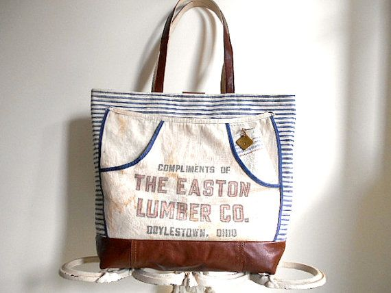 Leather & work apron carryall tote bag   antique by breadandroses2