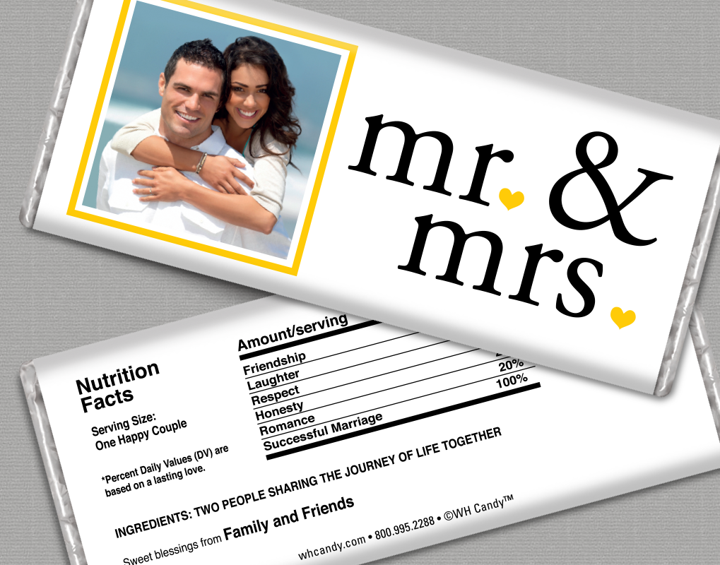 Mr. and Mrs. Yellow Wedding Favors with a Photo - Personalized ...