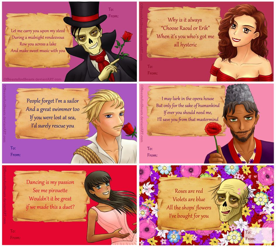 Phantom of the Opera Valentines by ofbeautsandbeasts