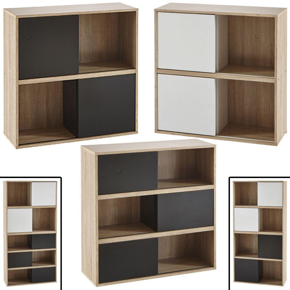 Details Zu Regal Slide Schiebetur Kombinierbar Bucherregal Buroregal Schwarz Weiss Holz Set Shelving Shelves Shelving Unit