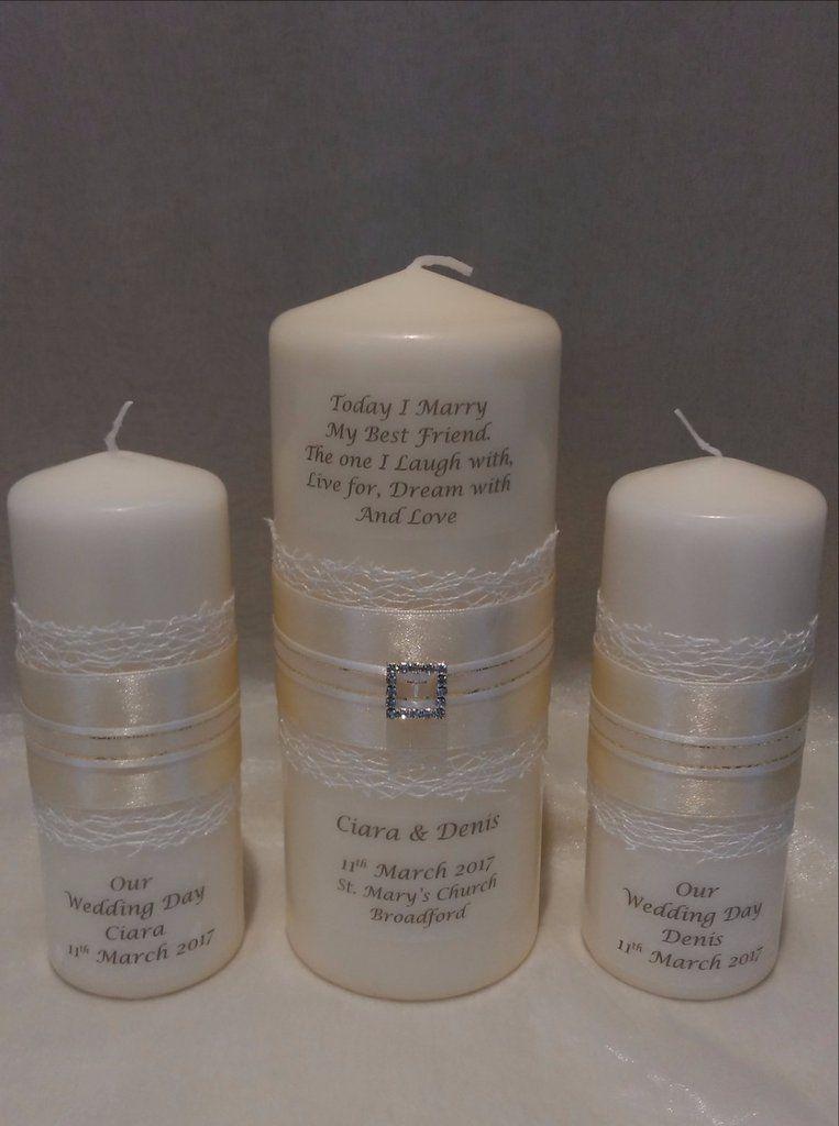 Wedding Candle - Opal Design, Ivory - Large | Personalized