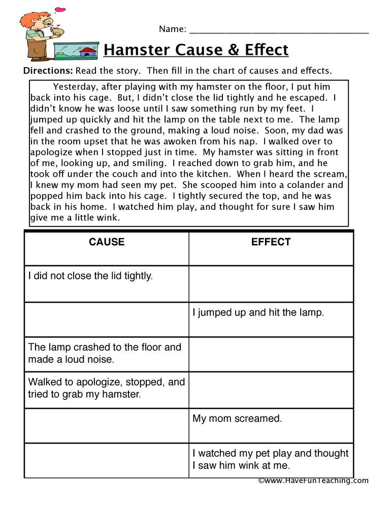 Hamster Cause and Effect Worksheet | Education | Reading ...