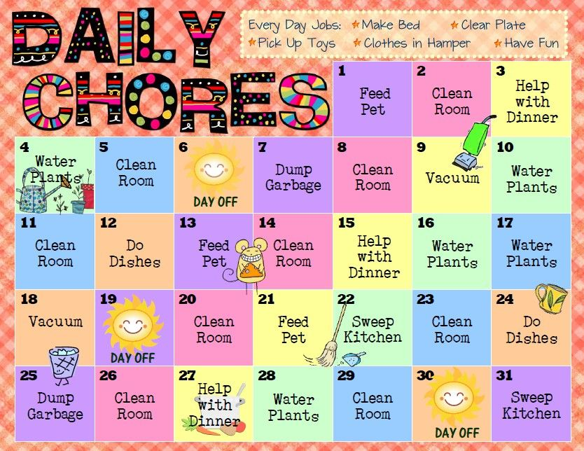Printable Chore Charts For Preschoolers  For Free Printable Pdfs Of