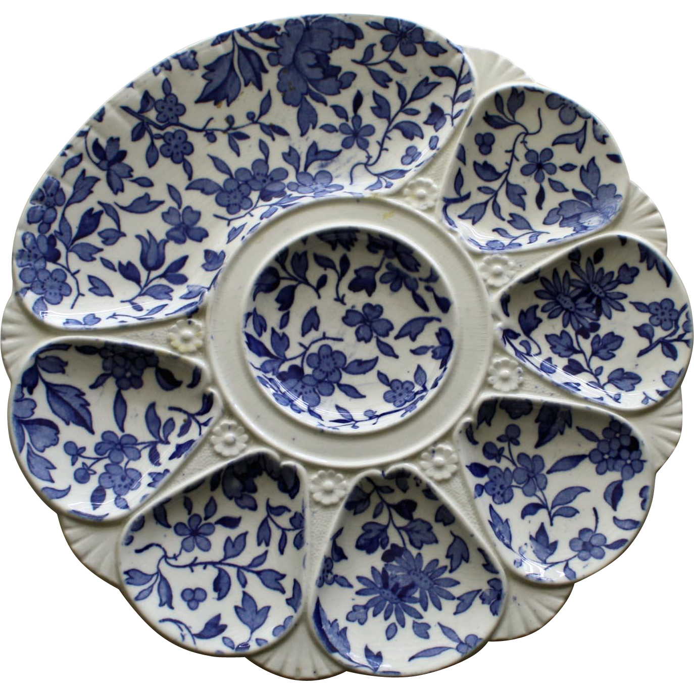 Minton Made Outstanding Oyster Plates This Lovely Blue And White Plate Has The Pattern Name Dorset There Are 6 Wells A Center Sauce Well