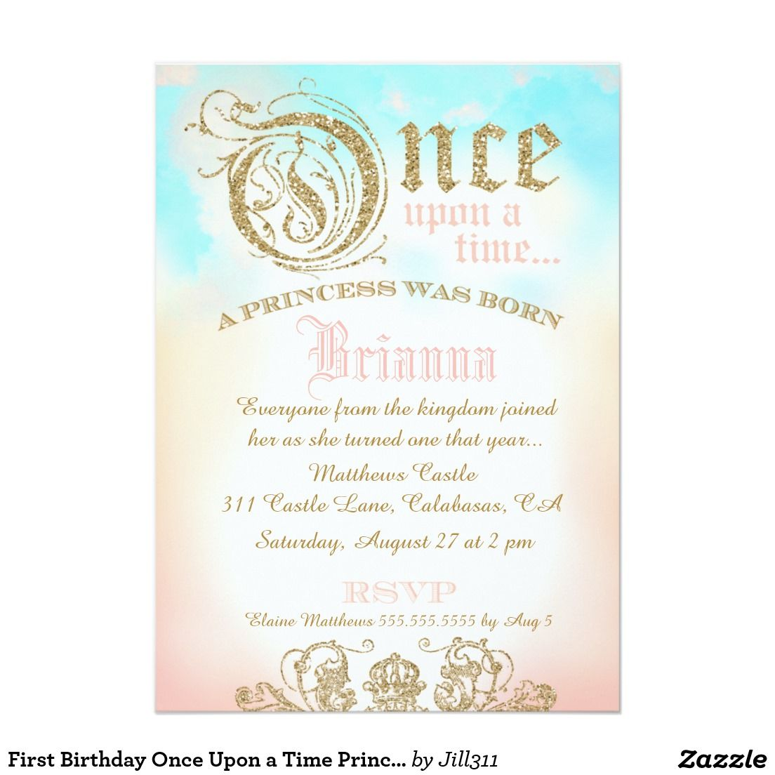 First Birthday Once Upon a Time Princess Invitation | First birthday ...
