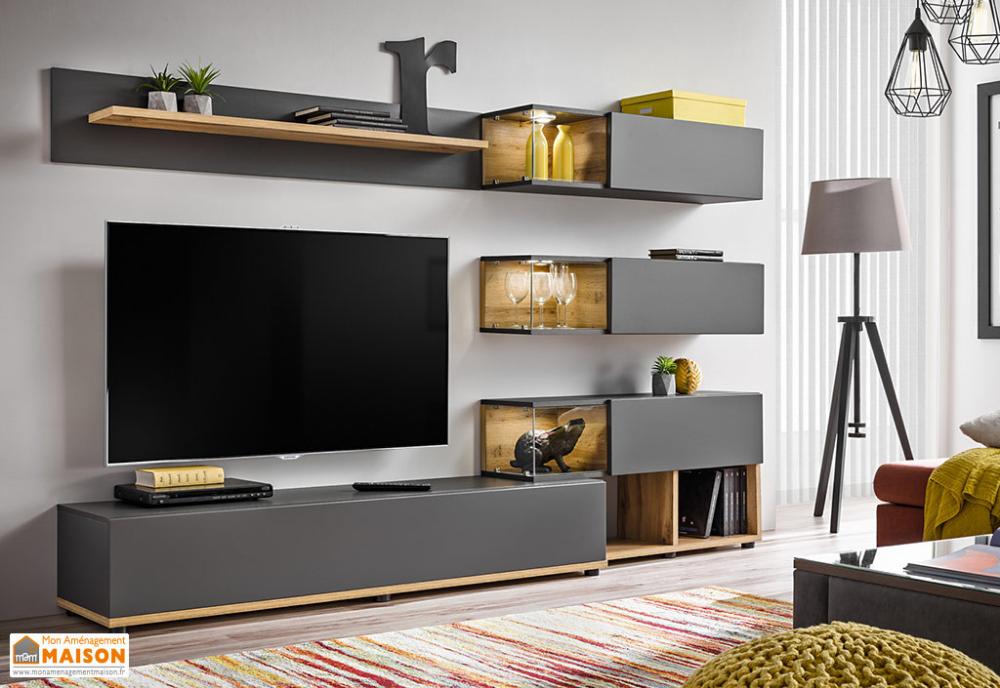 Ensemble Meuble Tv Et Vitrines En Bois Silk 240 X 150 Cm 2 Coloris Avec Images Ensemble Meuble Tv Deco Meuble Tele Meuble Tv Gris