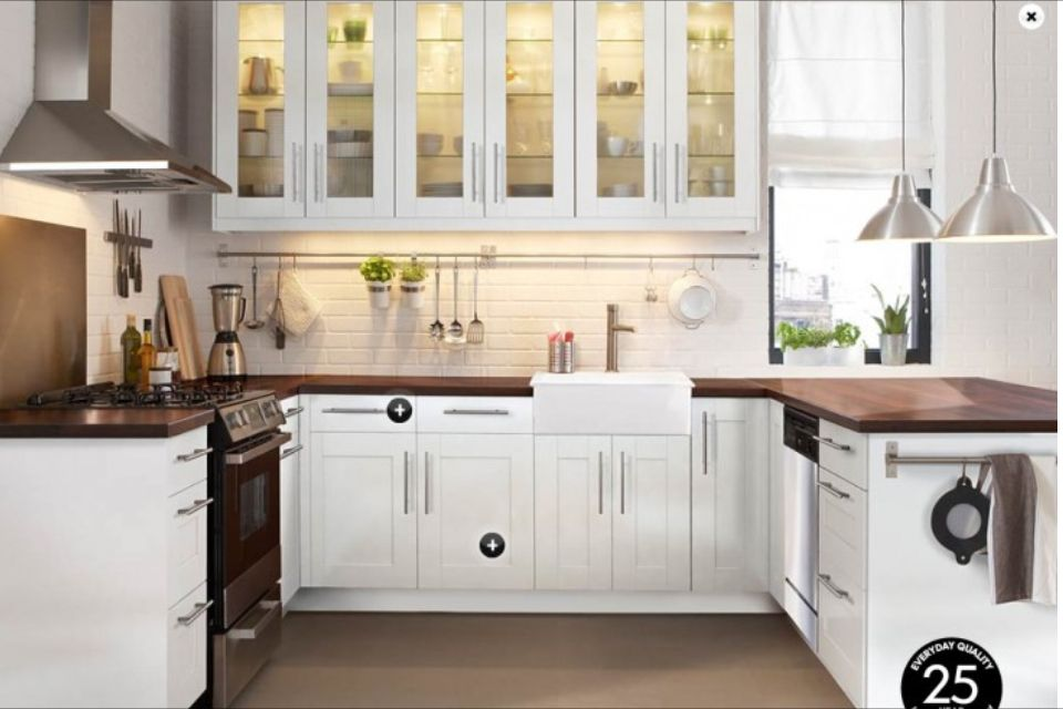 Best White Kitchen With Dark Wood Countertops Ikea Small 400 x 300