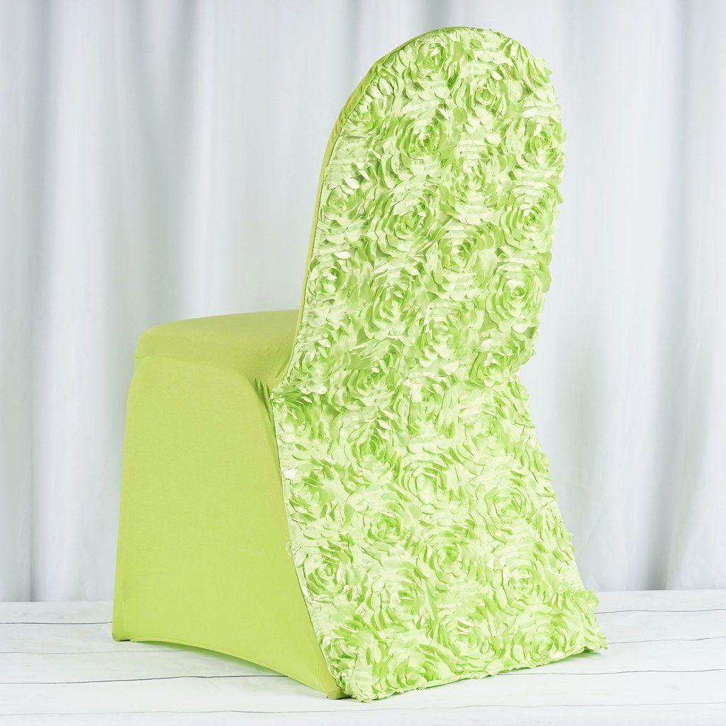 Satin Rosette Stretch Banquet Spandex Chair Cover, Apple