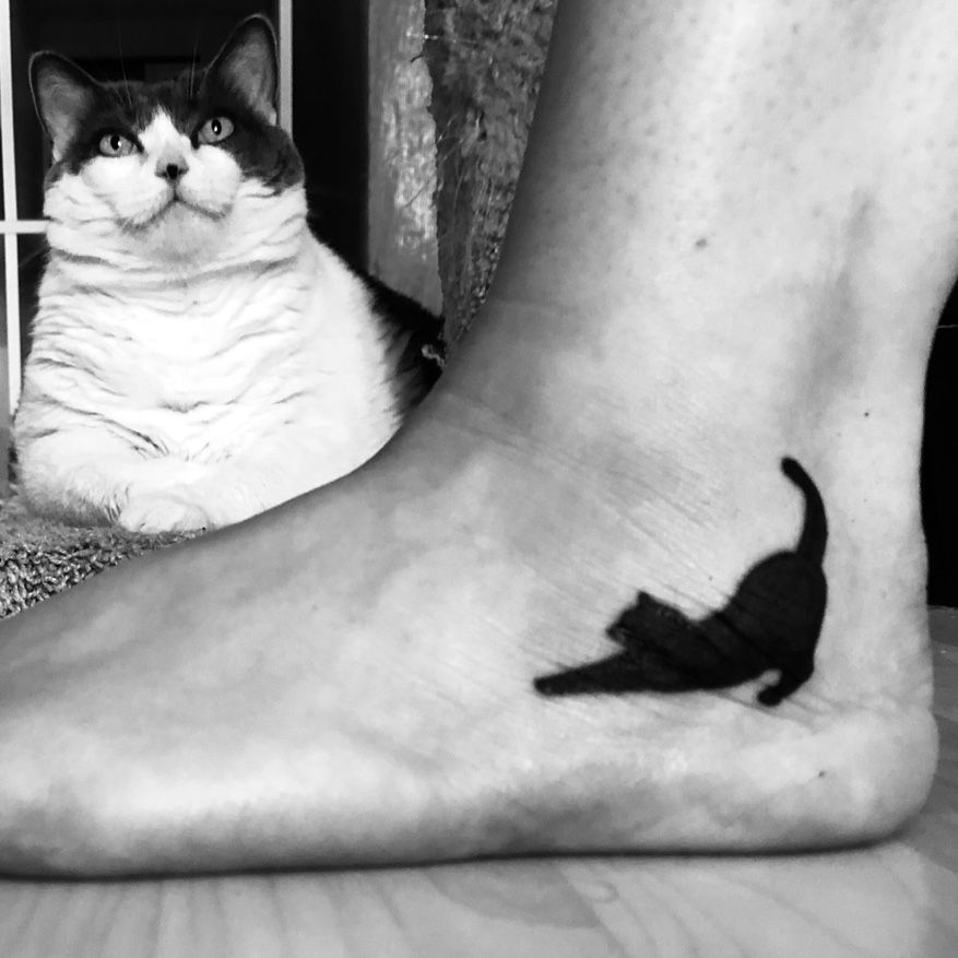 Stretching Cat Silhouette Ankle Tattoo Cat Silhouette Tattoos Ankle Tattoo Cat Tattoo