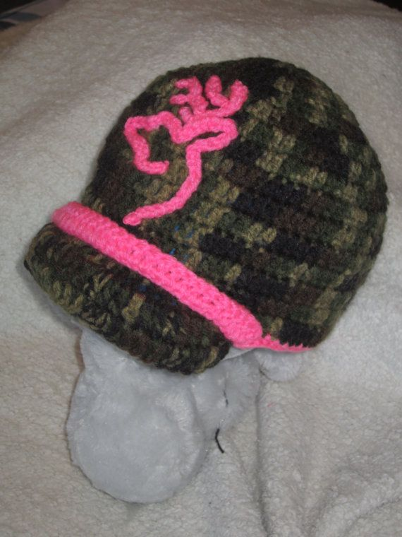 Crochet Browning Inspired Deer Hunter Pink Camo Beanie Hat with Brim ... 2e782f4988b7