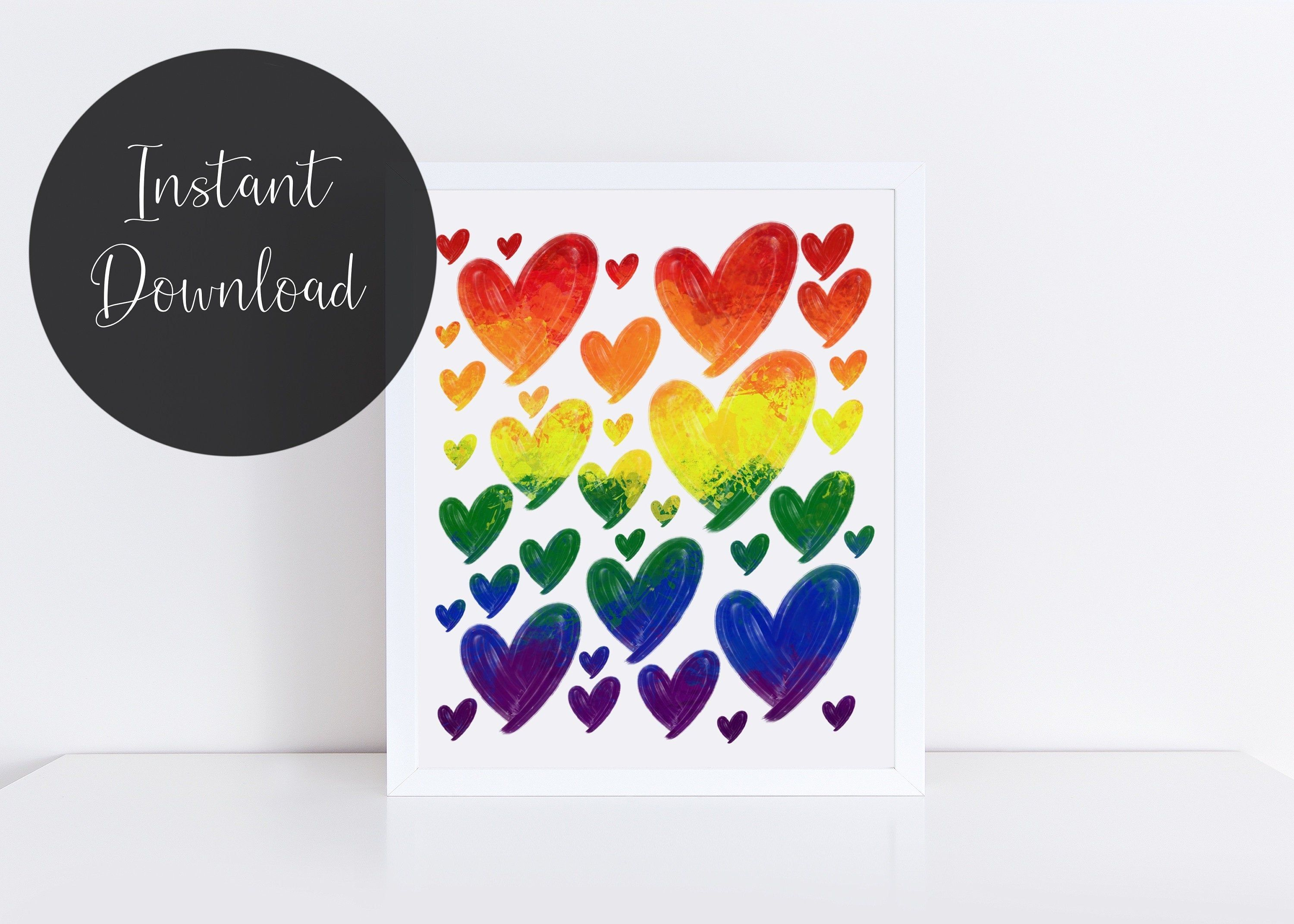Pride 10x15 FT Photo Backdrops,Hand Lettering on Watercolor Artistic Heart Symbol of Gay Marriage Inspirational Background for Baby Birthday Party Wedding Vinyl Studio Props Photography Multicolor