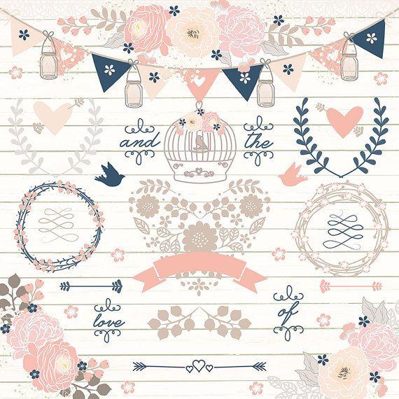 Navy Blue And Rose Blush Wedding Wreath Banner Flower Clipart Wood Digital Rustic Arrows Mason Jar