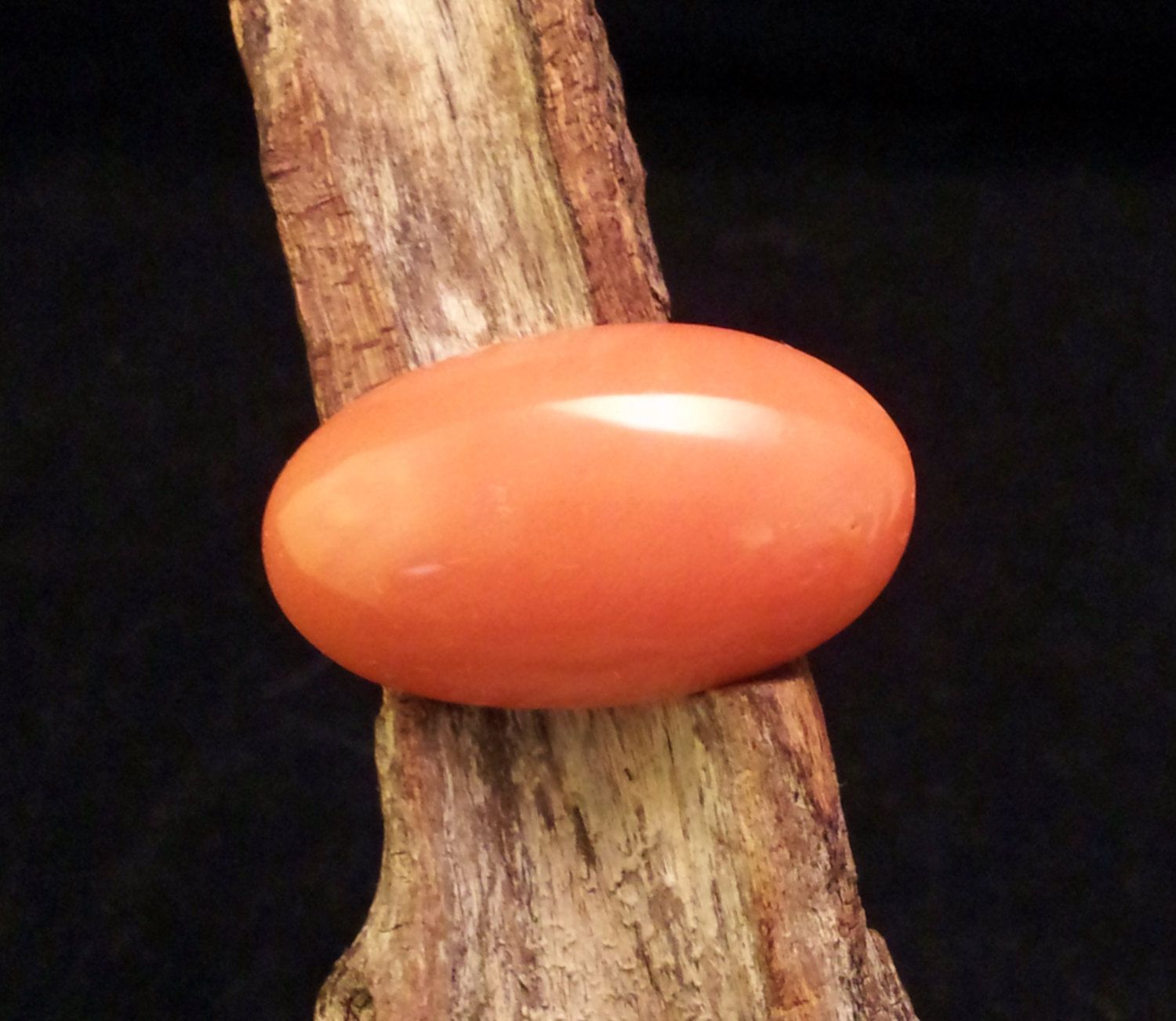 Natural Salmon Italian Coral Large Cabochon by txrockhound on Etsy, $335.00