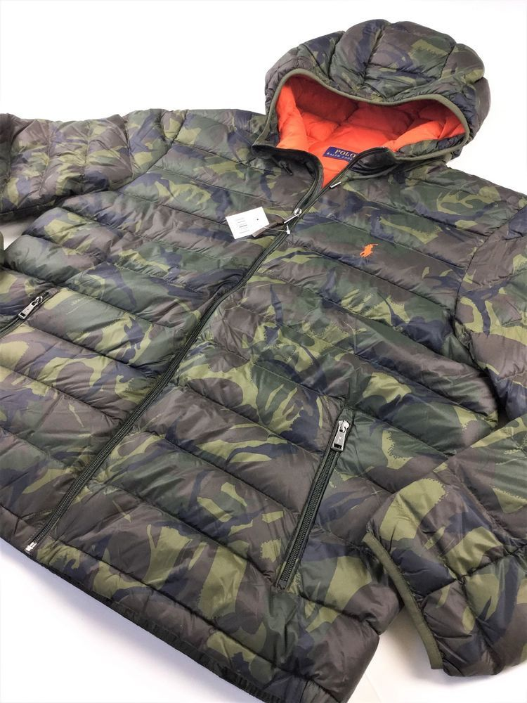 0f25e416b Polo Ralph Lauren Hooded Military Army Camo Puffer Down Jacket Coat 2XL   PoloRalphLauren  Military