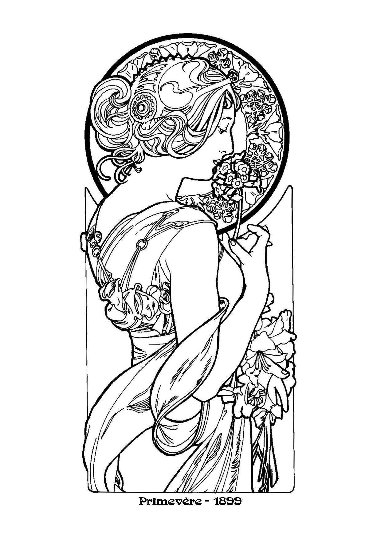 Alphonse Mucha Line Art alfons