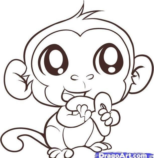 Cartoon Baby Monkey Coloring Pages Enjoy Coloring Baby Animal Baby Monkey Coloring Printable Monkey Monkey Coloring Pages Baby Animal Drawings Monkey Drawing