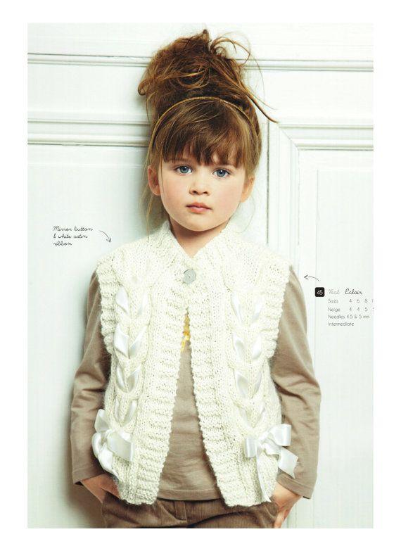 Vest for girl, knitting pattern, size 4-12 years | Crochet