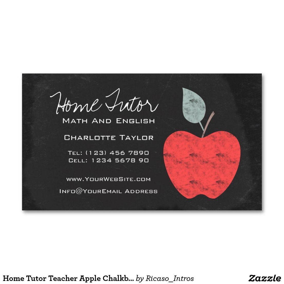Home Tutor Teacher Apple Chalkboard Business Card   Business cards ...
