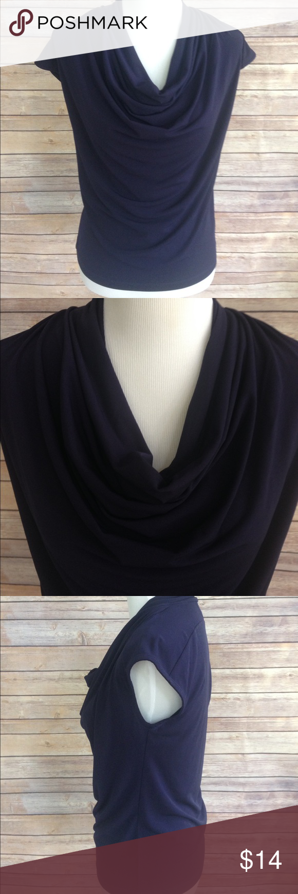"Ann Klein Cowl Neck Short Sleeve Top Ann Klein Navy Blue Short Sleeve stretchy career top with a lovely cowl neck. Perfect to wear under a blazer, cardigan or on its own. Measurements: Bust: 17"" Waist: 17"" Sleeve Length: 6.5"" (from neckline) Length: 22"" Ann Klein Tops"
