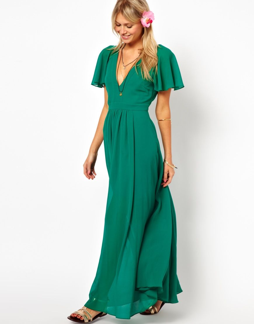 ASOS | ASOS Maxi Dress With Deep Plunge And Ruffle Sleeve at ASOS ...