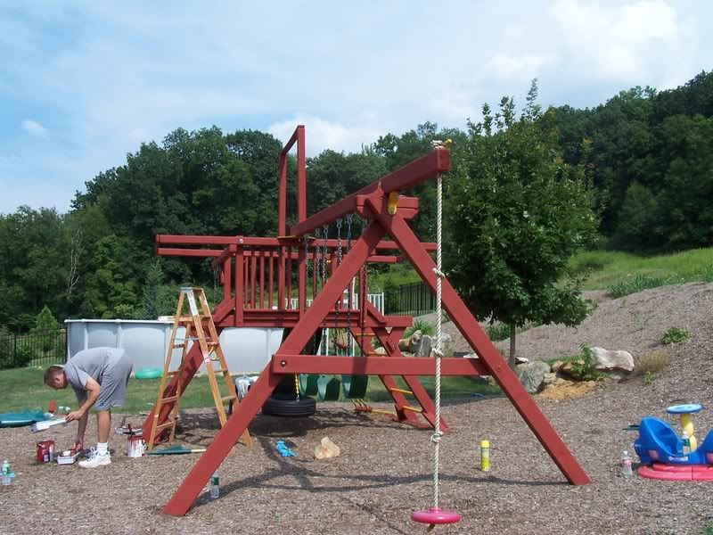 Swing Set Red Wood What Type Of Stain Washer Refinish Color
