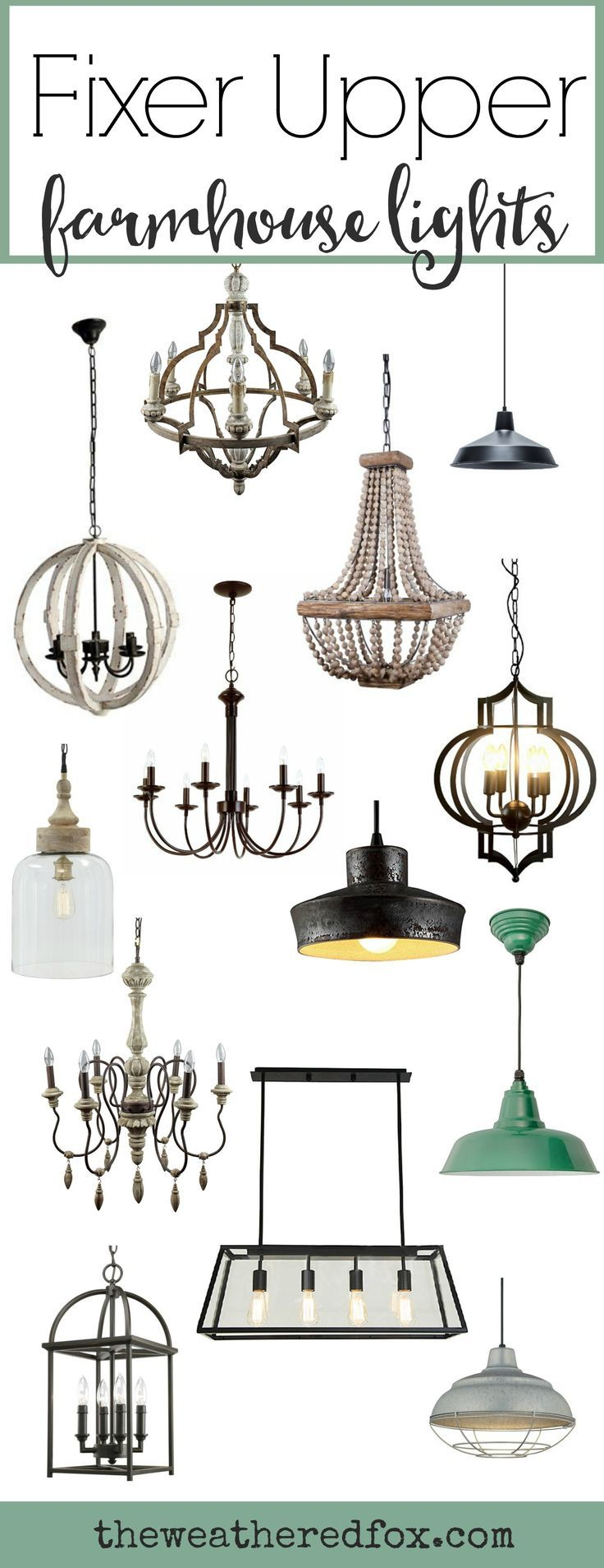 Fixer Upper Lighting for Your Home is part of Home Accents DIY Joanna Gaines - Fixer Upper Lighting ideas for your home  Lights inspired by HGTV's Fixer Upper  A round up of Joanna Gaines farmhouse style lights all in one place!