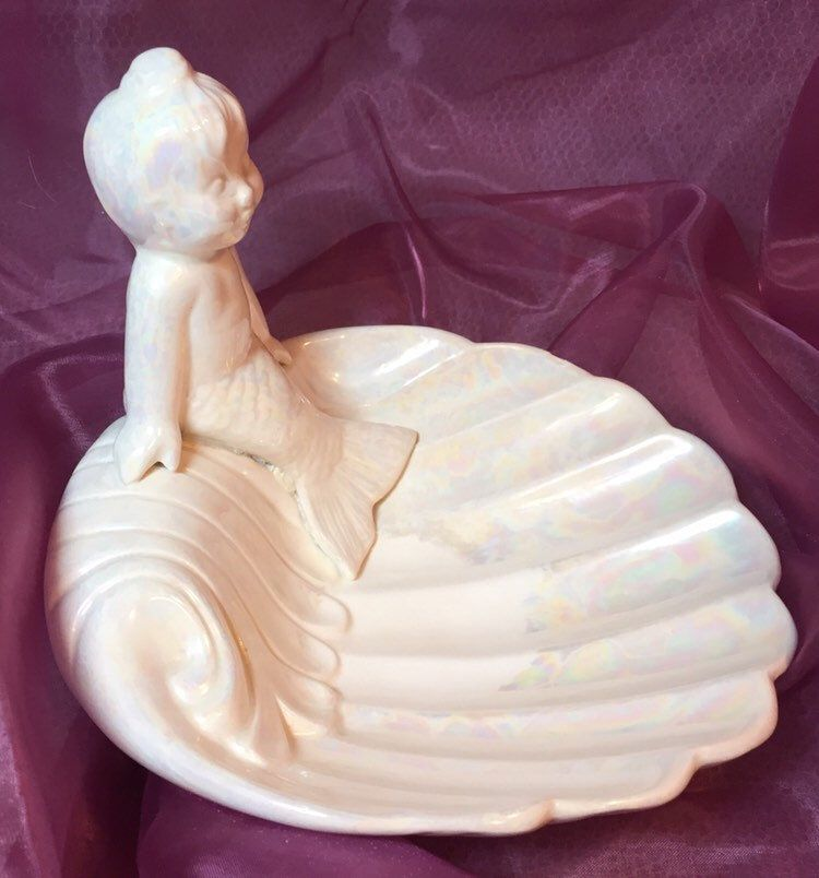 Photo of Mermaid Soap Dish, Pearl Soap Dish,Vintage Soap Holder, White Soap Dish, Bathroom Fixtures Antique, Mermaid Collectibles, Present for Mom