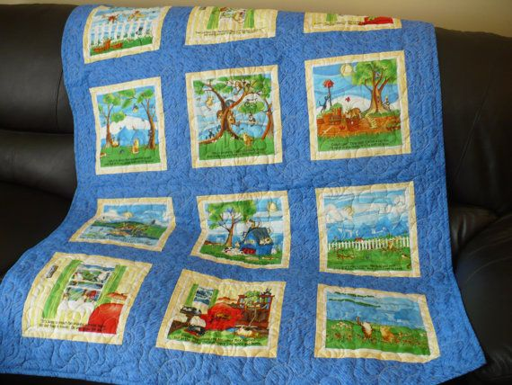 Story book Lap Quilt, kids bed quilt, adventures of two kittens ... : reading quilt - Adamdwight.com