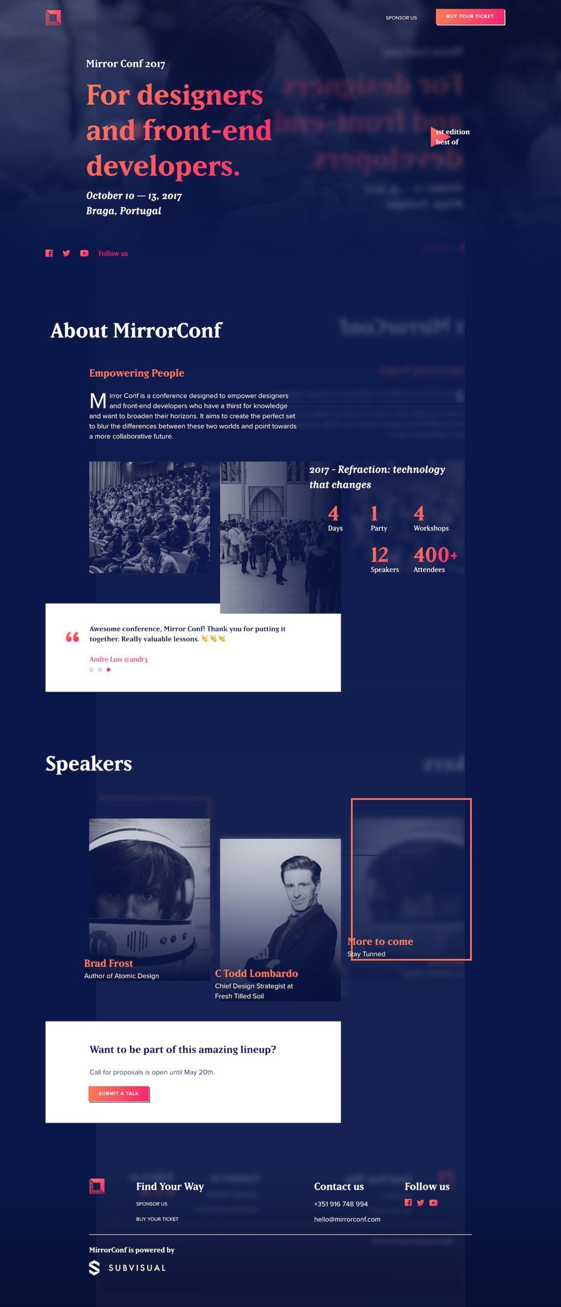 Mirror Conf 2017 A Design And Front End Development Conference Web Layout Design Conference Design Web Design