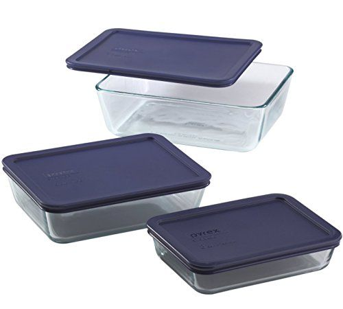 Pyrex 1073142 Rectangular Clearglass Foodstorage Containers With Blue Plastic Lids Glass Food Storage Containers Glass Food Storage Food Storage Container Set