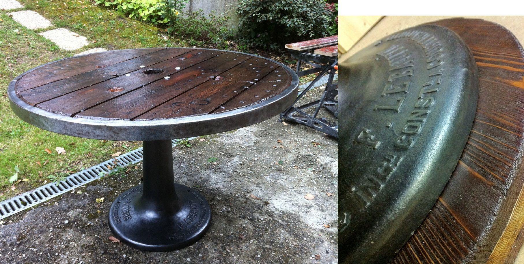 Table touret finalisée - détail d'une des entretoise finition