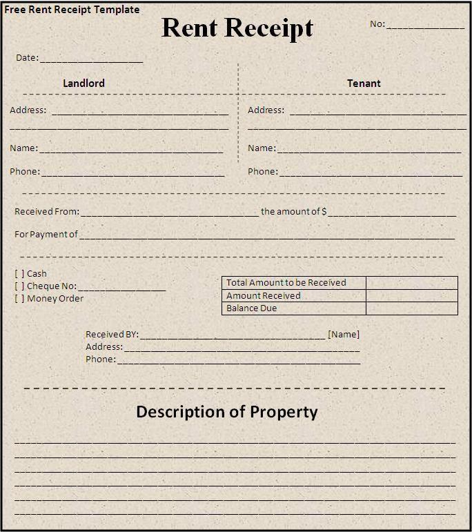 Rent Receipt Template Business Formats Pinterest Receipt - cash receipt template doc