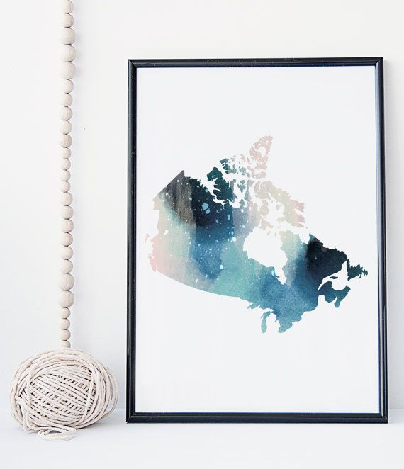 canadian map watercolor art print, canada map, office decor, home