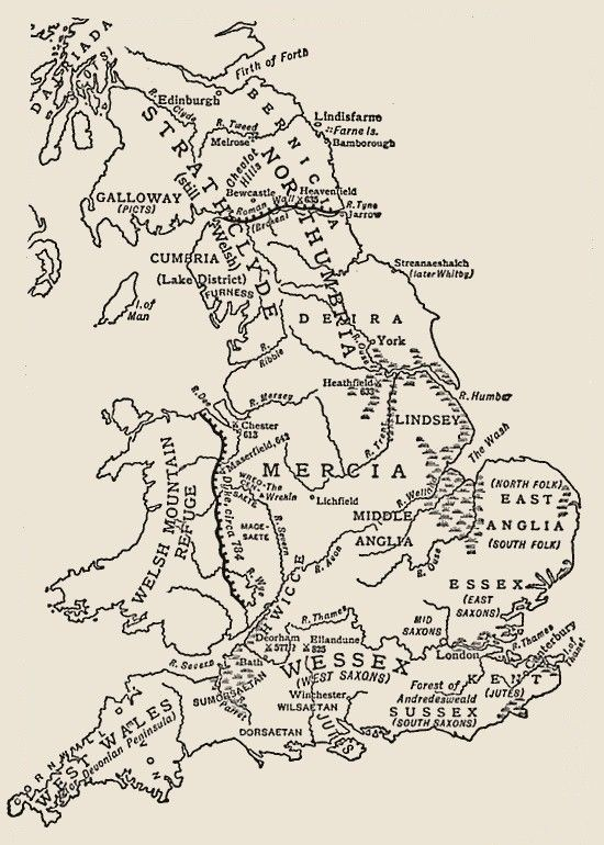 Map Of England In 9th Century.9th Century England Anglo Saxon England At The Beginning Of The