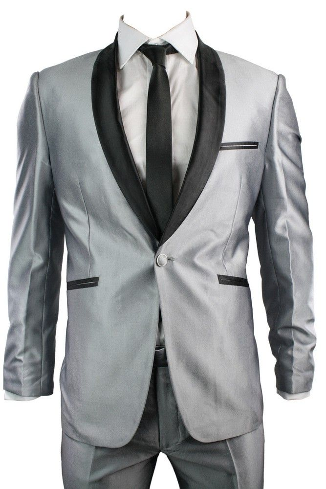 Mens Slim Fit Suit Shiny Silver Grey Black Trim 3 Piece Work ...