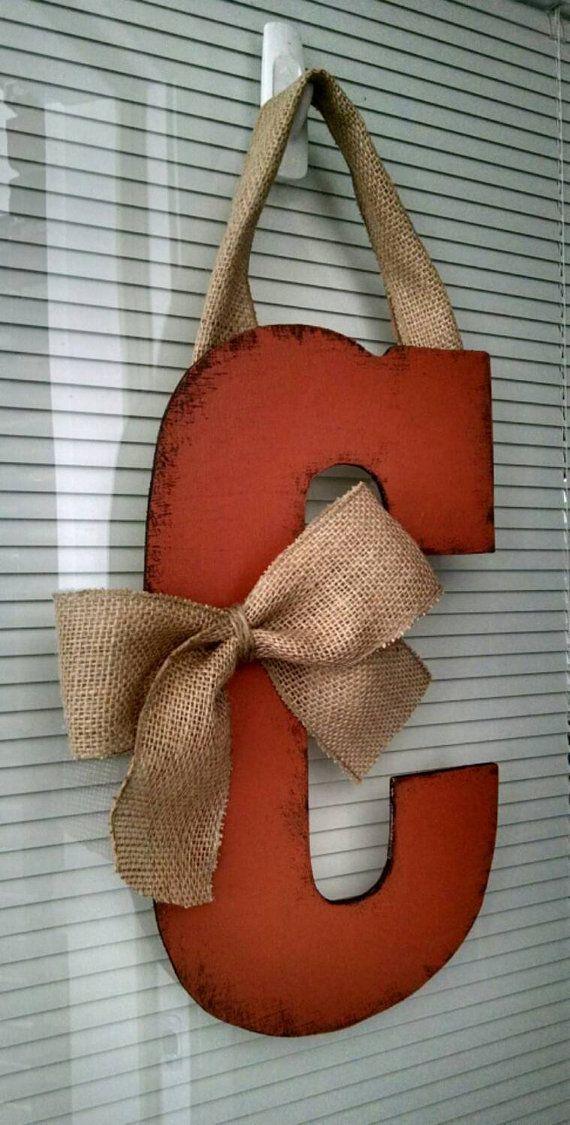 13 Quot Wooden Door Hanging Letter C Door Wreaths Diy Wooden Door Hangers Wooden Door Signs