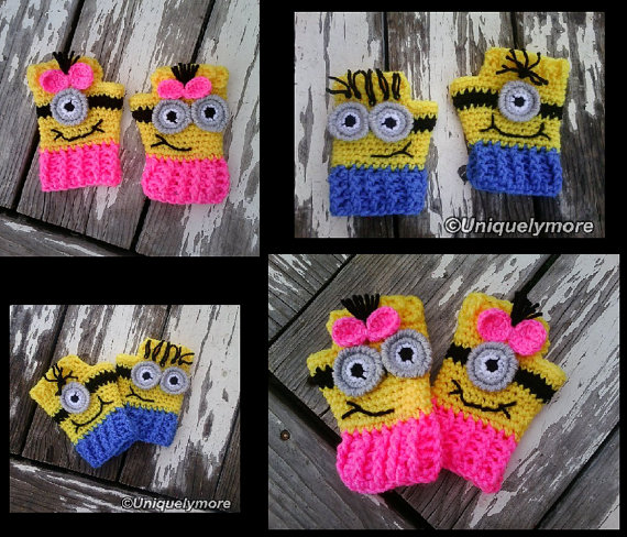 Crochet Pattern for Minion Fingerless Gloves by uniquelymore, $3.50 ...