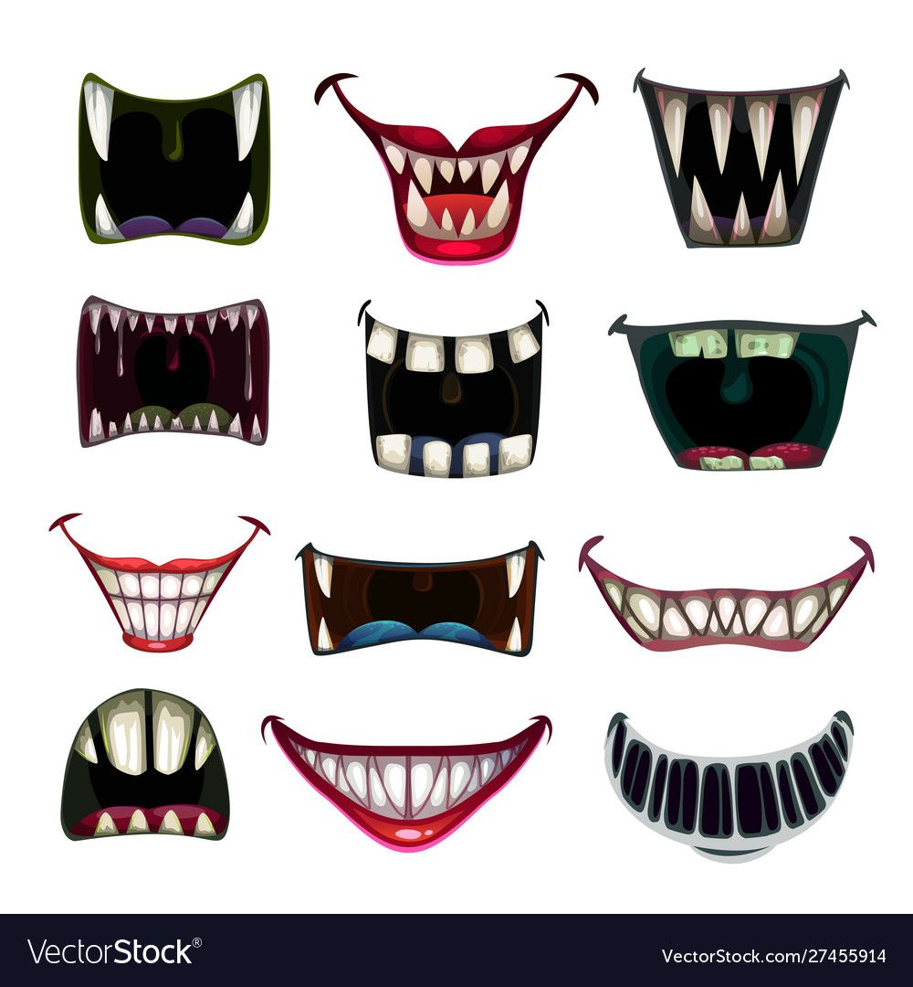 Creppy Fantasy Monsters Mouth Set Vector Scary Jaws Collection Colorful Icons Download A Free Preview Or High Qua Monster Mouth Mouth Drawing Scary Drawings