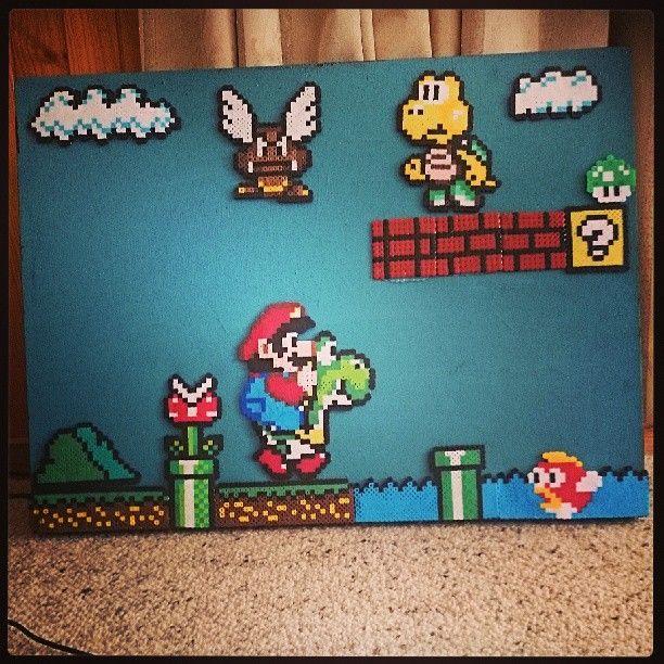 Mario Scene On Canvas Perlerbeads Perlerart Hamabeads Marioart