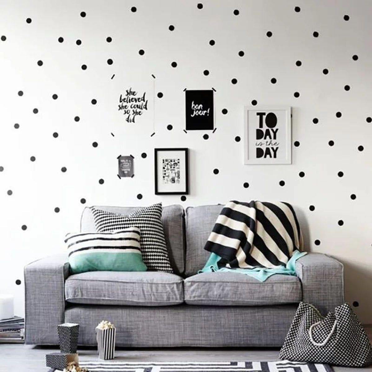 60 Count Black Polka Dot Wall Stickers Modern Baby Room Decor Childrens Room Wall Art Polka Dot Walls