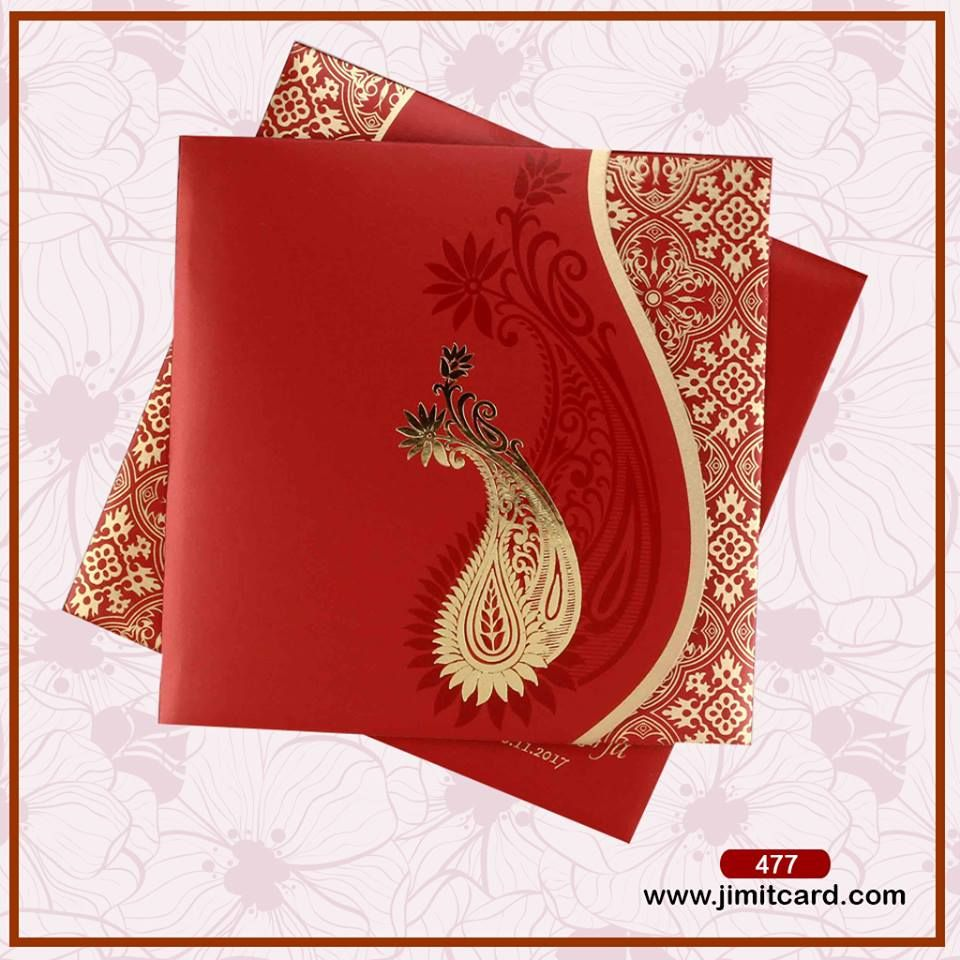 The Wedding card is made of red textured paper with a shimmering ...
