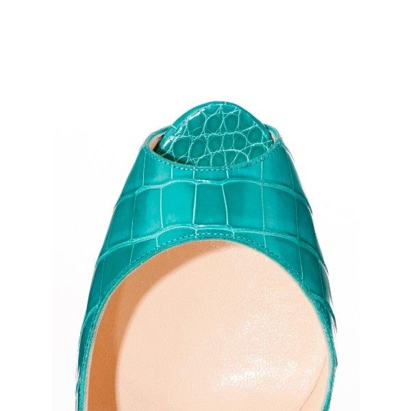 COLOR:Jade MATERIAL:Croco TECHNICAL INFORMATION: Heel Height: 6 inches approx. 150 mm approx. Arch: 4 inches approx. 100 mm approx. Platform Height: 50 inches approx. 50 mm approx. COLLECTION:CLASSIQUE