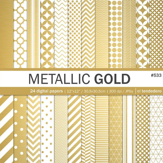 Gold Digital Paper Pack Metallic Gold Metallic Gold Geometric