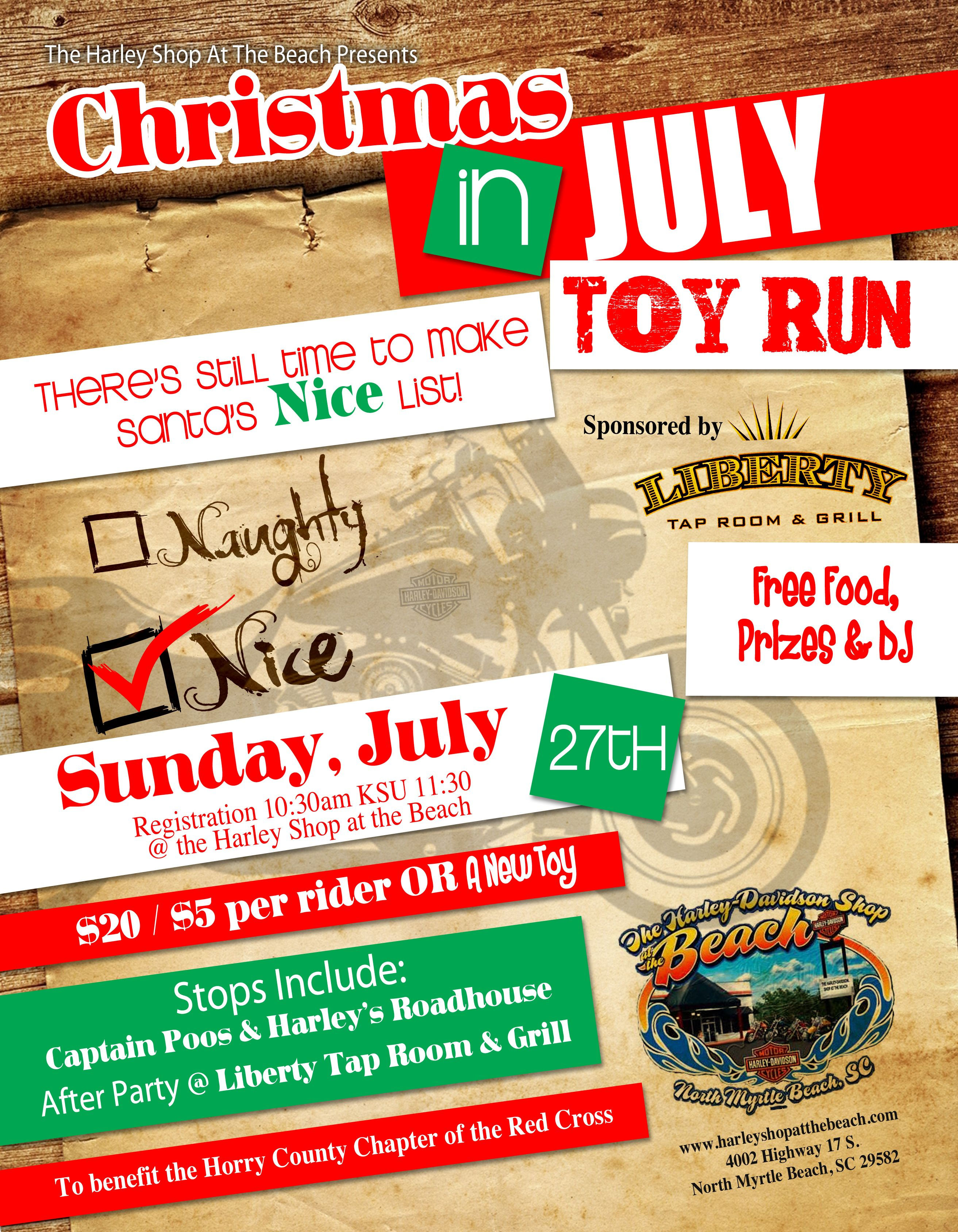 Christmas In July Toy Run Sunday July 27th Registration Is At 10